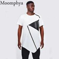 Moomphya 2017 Men Leather Patchwork Zip T Shirt Irregular Leather Patch Neck Zipper T Shirt Sharp