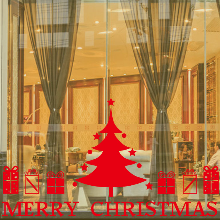 Large Christmas Tree Gifts Wall Sticker Removable Merry Christmas Decorative Shop Window Living Room Home Decor Funny Xmas