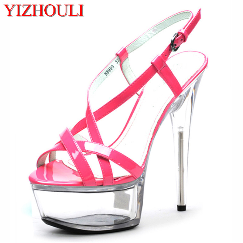 15cm Sexy Super High Heel Platforms Crystal Sandals 6 inch women summer shoes Exotic Dancer sexy pole dancing shoes white black 15cm super high heel platforms pole dance performance star model shoes wedding shoes
