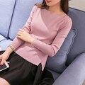 2016 nuevas mujeres de la manera del otoño del resorte hizo punto la camisa básica femenina de manga larga Raya Vertical neck pullover sweater pullover tops