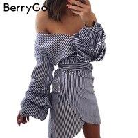 BerryGo Deep V Neck Long Sleeve Women Dress Shirt Sexy Off Shoulder Bow Tie Plaid Dress