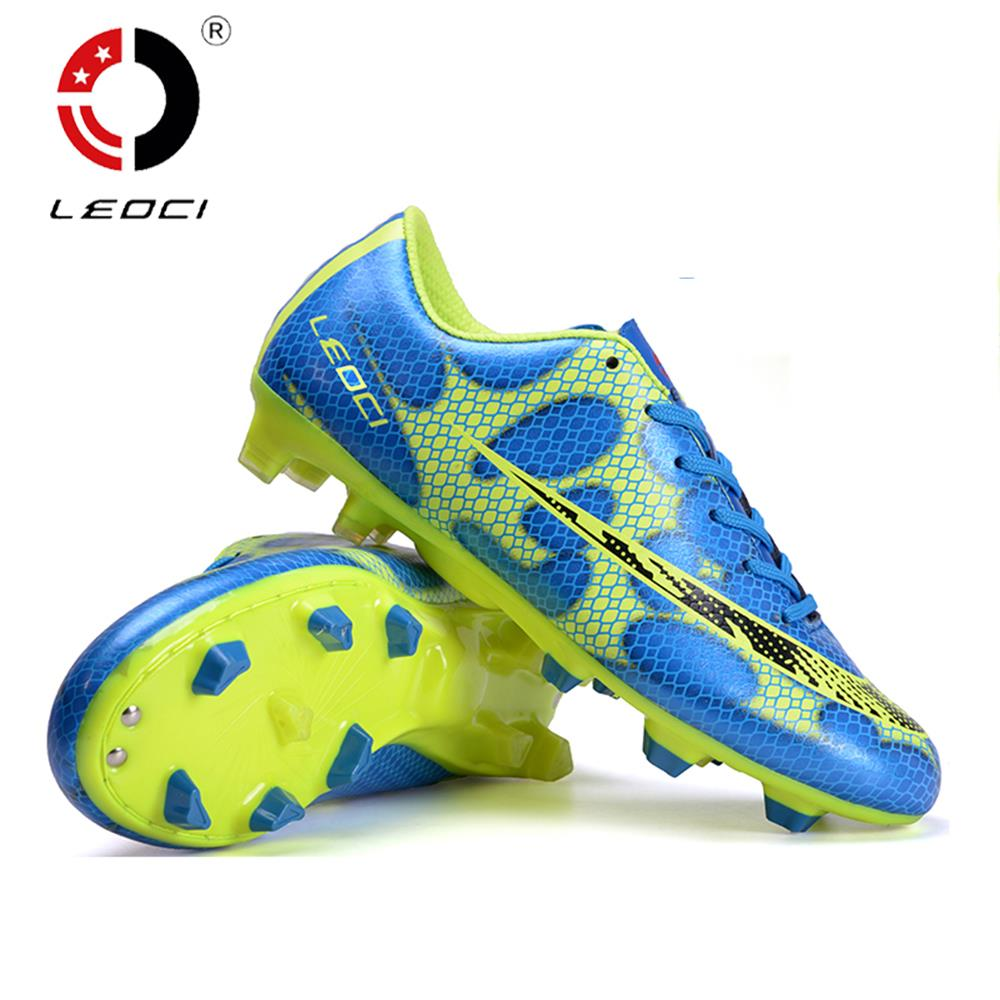 LEOCI TPR+EVA+PU Leather Training Shoes FG Football Shoes Soccer Boots Botines De Futbol For Adult and Kids Size 33-44 dr eagle original superfly football boots man football shoes with ankle soccer boots footbal shoes sock size 38 45 sneakers