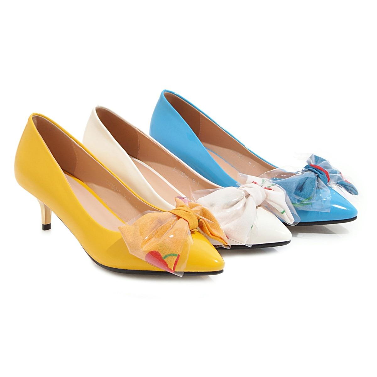 Bureau Chaussures Mariage Peu jaune Pointu Cuir blanc De Mode Nouvelle Pompes 2019 Ol Esrfiyfe Talons Bout Concis Bleu En Hauts Doux Femmes Profonde B7qwXxIH