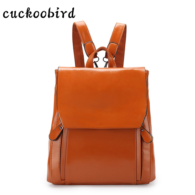 Cuckoobird Women Backpack High Quality PU Vintage Solid Color Backpack for Teenage Girls Casual School Bag