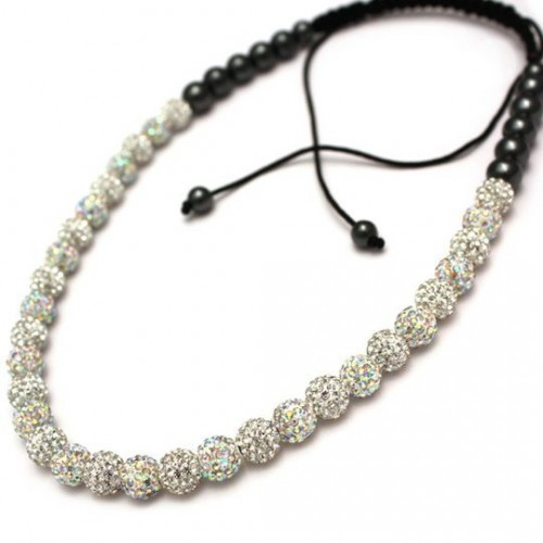 Hot sale New  Fashion Shamballa Rosary As Christmas Gift Clay Crystal Rhinestone Long Shamballa Necklace free shipping
