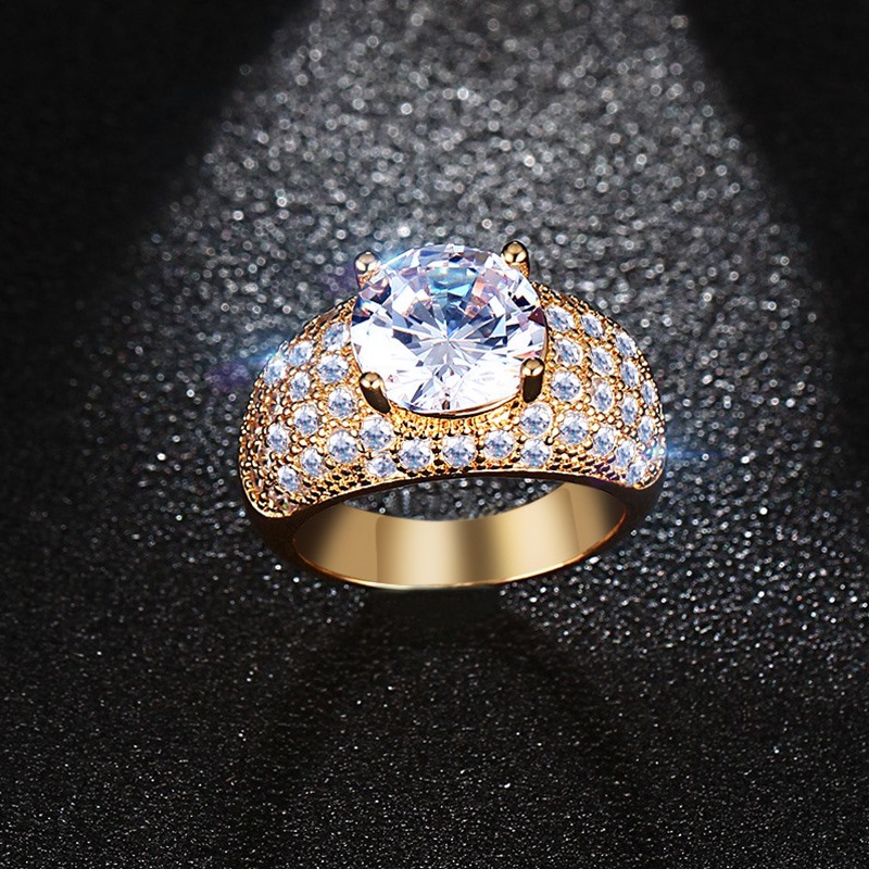 Meaeguet Vintage Cubic Zirnonia Rings For Women Wedding Jewelry Gold