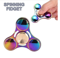 Rainbow Metal Hand Tri Spinner Bearing Fidget Finger Gyro Kids SS Focus Toys