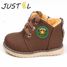 The new children's winter kids thick warm cotton-padded shoes boys girls safty quality non-slip boots 21-30 No.A273