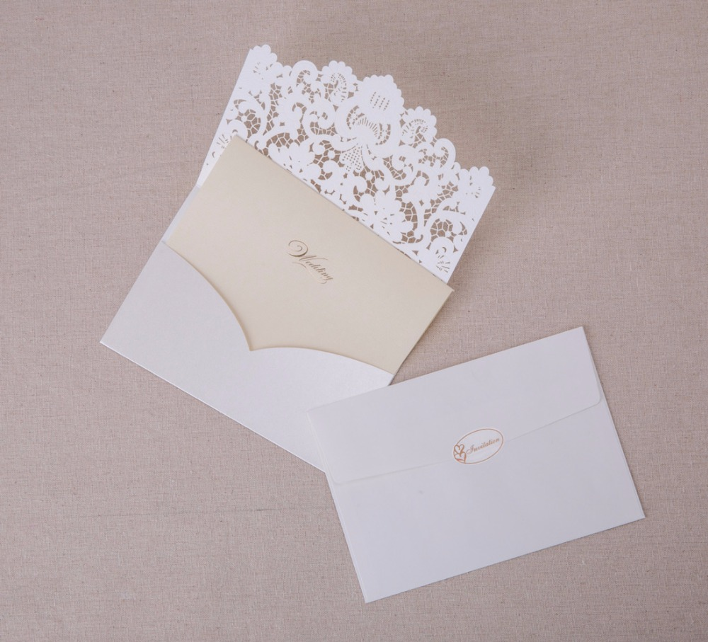 50PCS Laser Cut Wedding Invitations Cards White Gold Red Embossed ...
