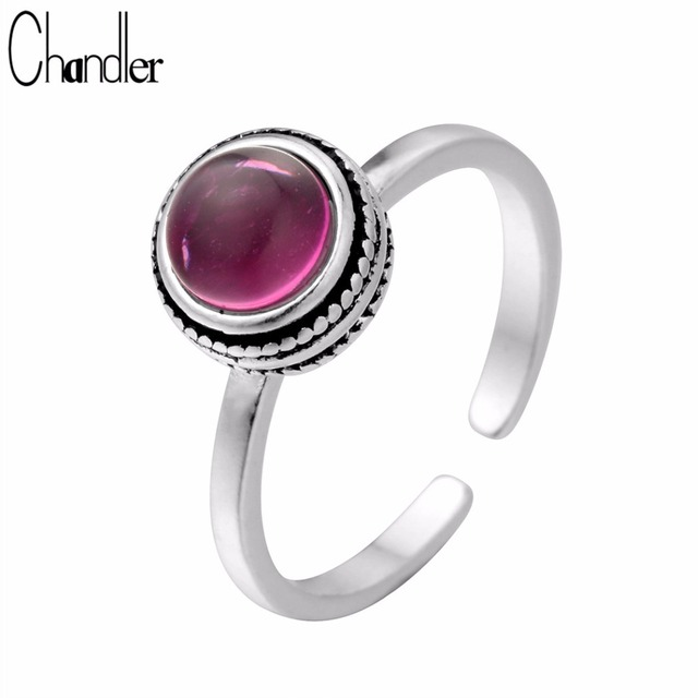 Chandler Silver Champagne Ring With Red Stone For Women Pinky Crystal Antiqie Si
