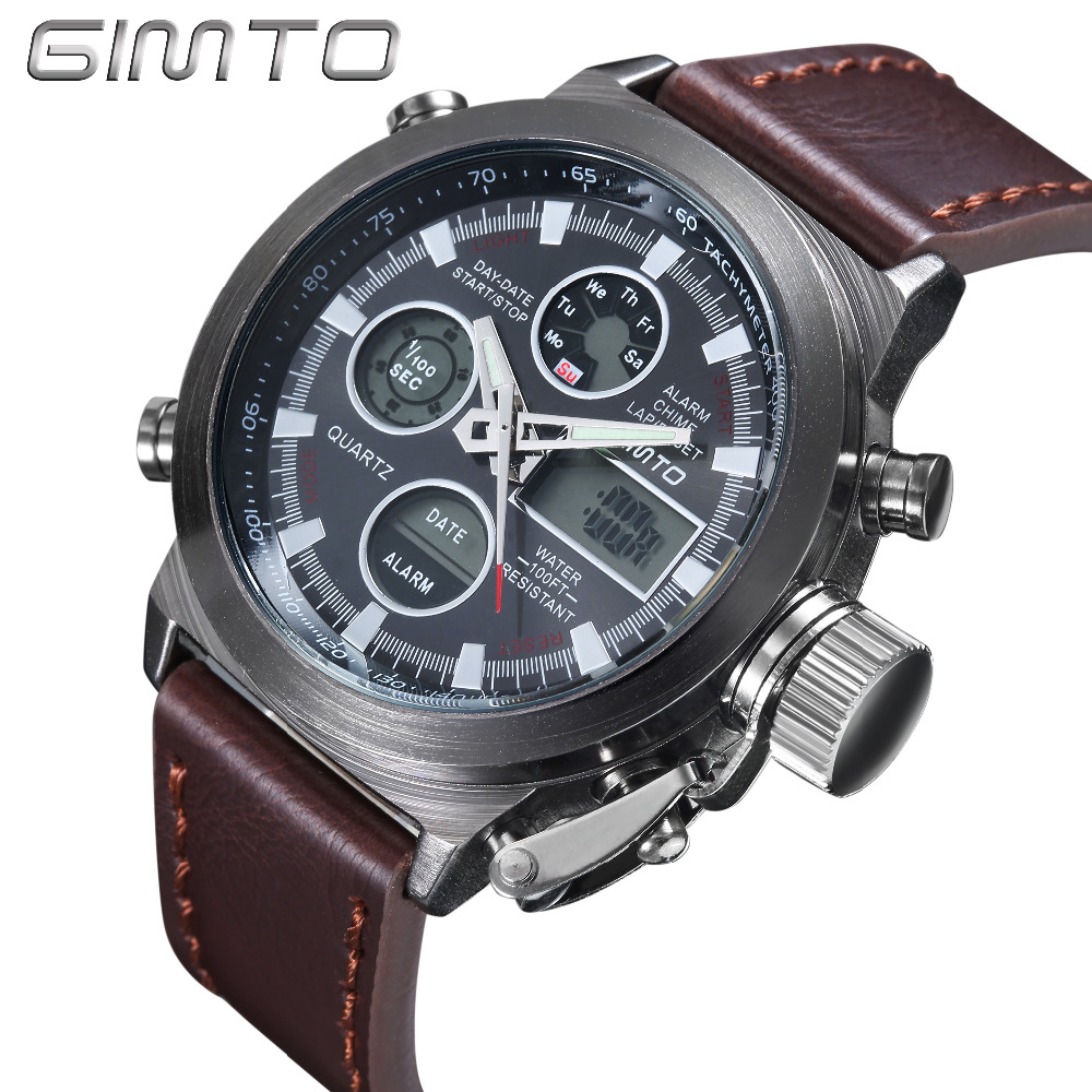 Hot sale men Watches Brand GIMTO Sport Diving LED display wristwatch Fashion Casual Leather strap Watch