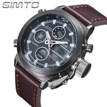 Venta caliente de los hombres Relojes de Marca GIMTO Buceo Deporte pantalla LED reloj de pulsera de Moda Casual correa de Cuero Reloj Montre Homme