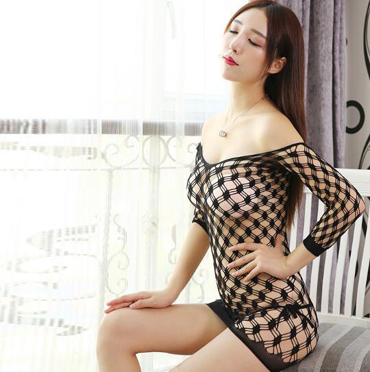 2019 NEW Women Sexy Gird Symmetry Mesh V-Neck Sleepwear Nightwear Underwear Lounge Nightgowns Sleepshirts