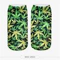 Hoja de Pringting Otoño Nueva Moda Divertido 3d Calcetines de Tobillo Calcetines de Algodón Calcetines Ocasionales de Las Mujeres