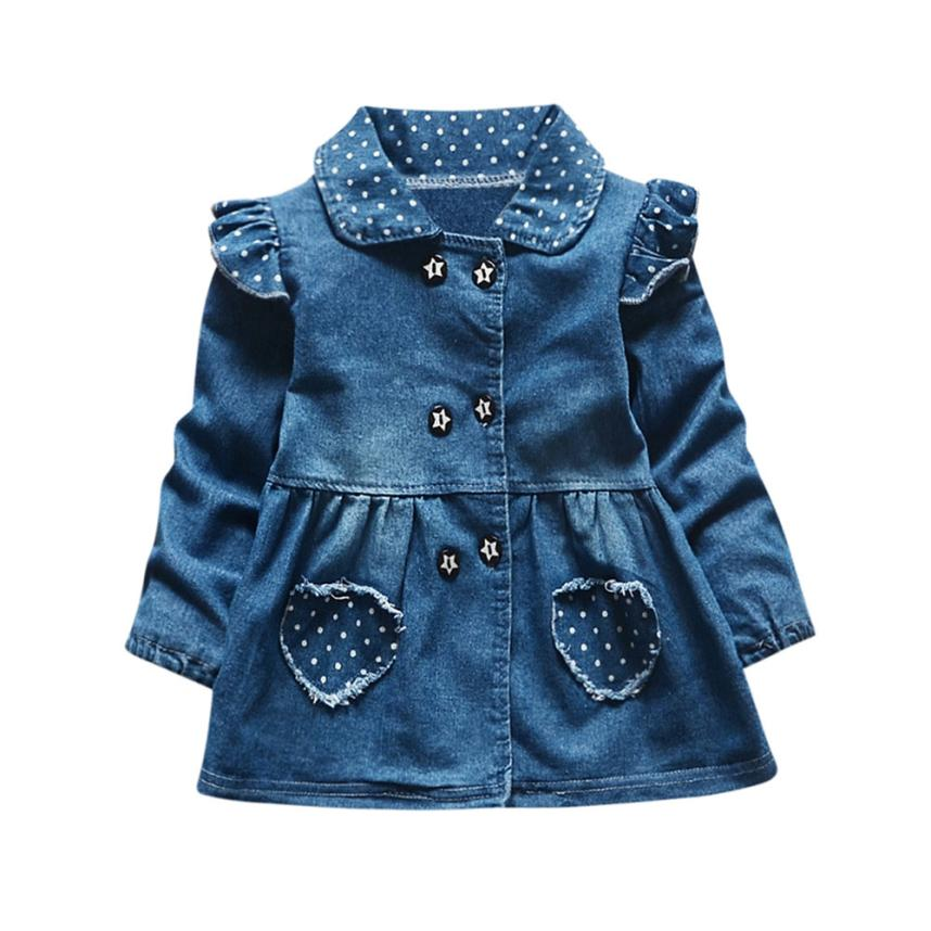 Toddler Baby Girls Dot Pocket Long Sleeve A-Line Princess Denim Princess Pageant Party Casual Tutu Dress Girl Dress Outfit