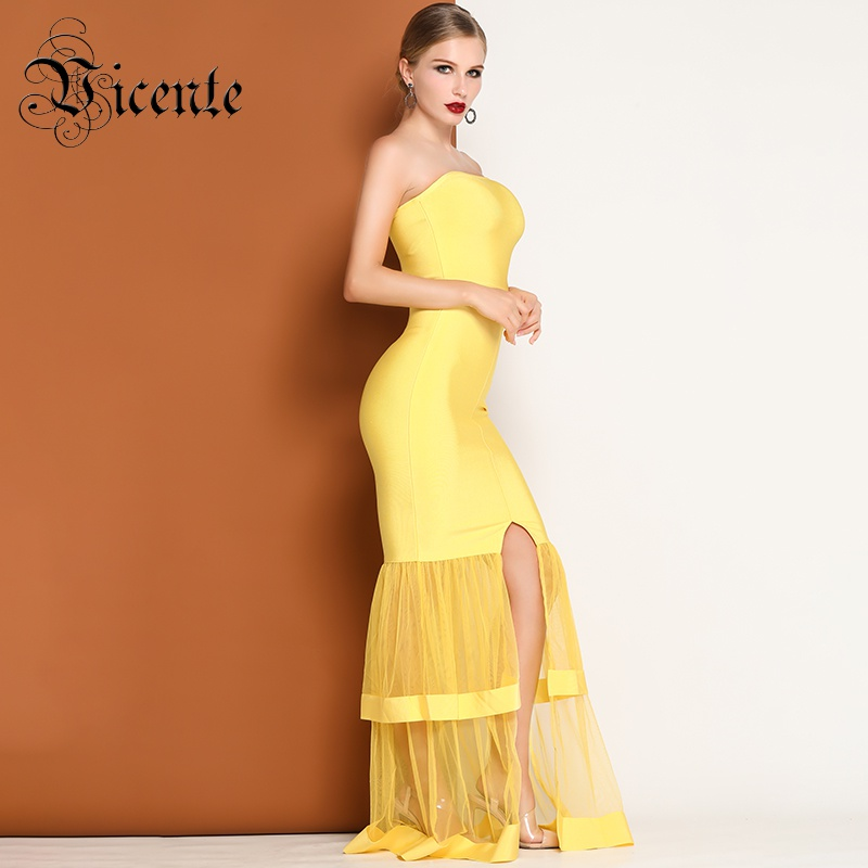 6ebd471232376 US $98.98 |Vicente HOT Stylish Yellow Ruffles Maxi Long Dress Sexy  Strapless Mesh Splicing Wholesale Celebrity Party A Line Dress-in Dresses  from ...