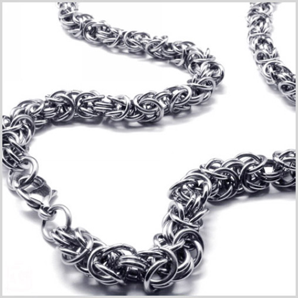 8MM Wide New Design Stainless Steel Silver Handmade Byzantine Box Chain Mens Unisexs Necklace Or Bracelet 7″-40″ Christmas Gift