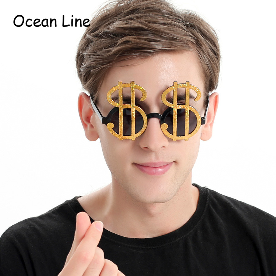 Creative Gold Shiny Dollar Costume Glasses Money Party Favoritt Photobooth Eyewear Props Event Festive Party Supplies Decoration