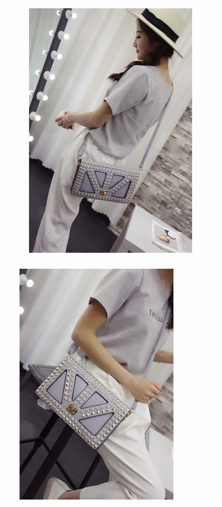 prata embreagem crocodilo moda bolsa de ombro