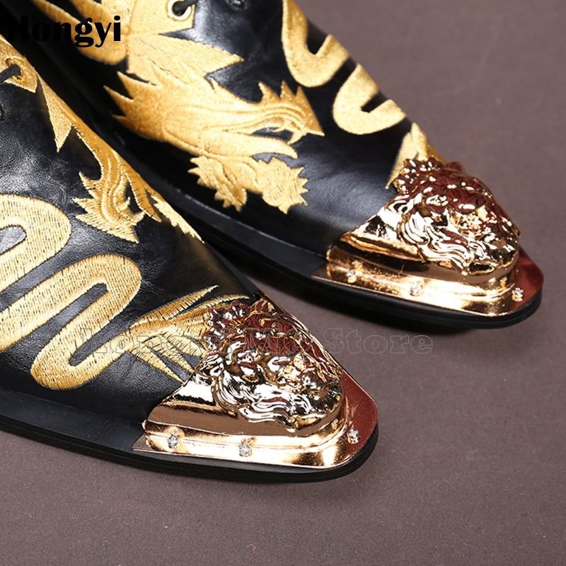 As Mens as Boda Bordado Visten Botas Showed Dragón Zapatos Color De Hombre Hombres Cuero Los Color Oro Nuevos OfgBq4