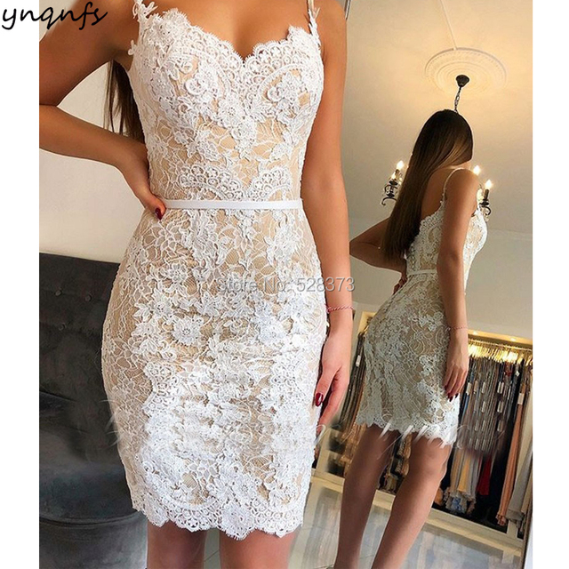 YNQNFS CD65 Short Bridesmaid Dresses Sheath White/Champagne Lace Vestidos de Noche Cortos Party Gown 2018