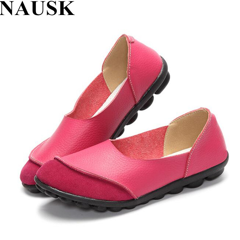 NAUSK 2018 Soft Women Shoes Flats Moccasins Slip on Loafers Genuine Leather Ballet Shoes Fashion Casual Ladies Shoes FootwearNAUSK 2018 Soft Women Shoes Flats Moccasins Slip on Loafers Genuine Leather Ballet Shoes Fashion Casual Ladies Shoes Footwear