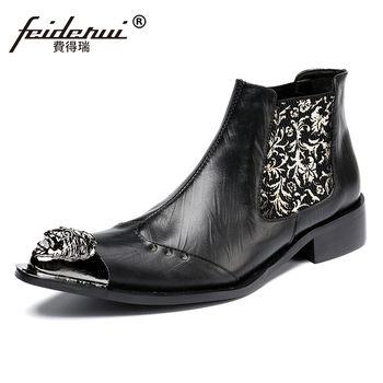 Plus Size Black Pointed Toe High-Top Man Handmade Riding Shoes Vintage Genuine Leather Men's Studded Chelsea Ankle Boots SL120