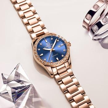 Carnaval montre de luxe femmes or Rose acier inoxydable marques de mode Auto Date mécanique étanche montre-bracelet relogio féminin