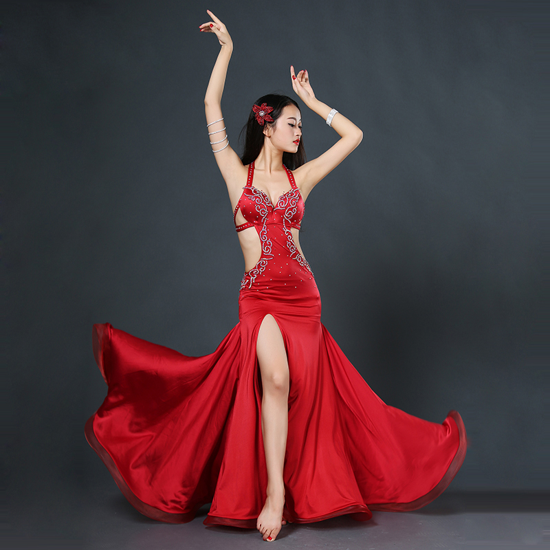 Silk belly dance cloting lady luxury dress dance performance dress women Elegant dress latin show clothes