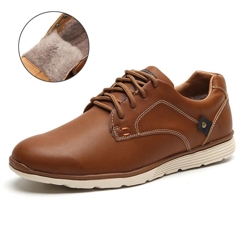 LINGGE Мужской обувь Высокое качество искусственная кожа Русский размер 39-46 кроссовки мужские Мужская повседневная обувь легкий кросовки мужские#IL007-2 - Цвет: Brown FUR