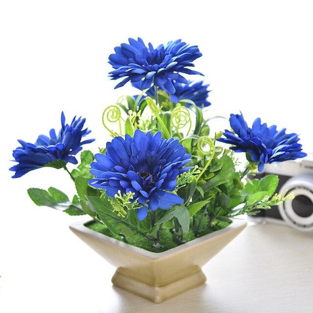 mini 1 unids azul crisantemo ambiental planta en maceta de flores