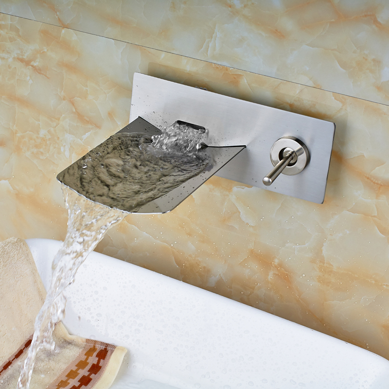 ФОТО Contemporary Nickel Brushed Bathroom Tub Faucet Single Handle Mixer Tap Wall Mounted