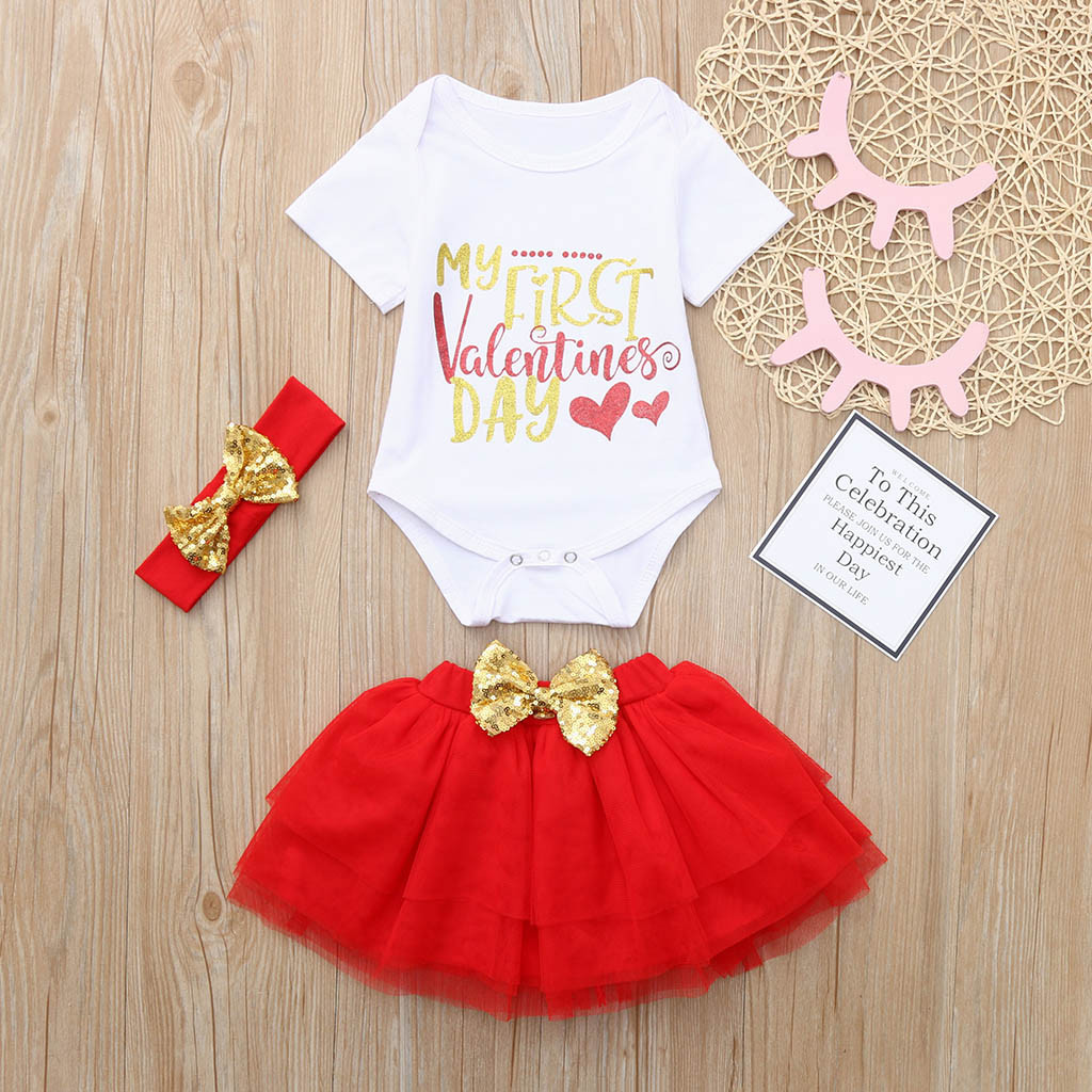 2019 Newborn Infant Baby Girl clothes set Letter summer Romper Tops clothes+Tutu Skirts Headband Valentine Outfits clothes Set