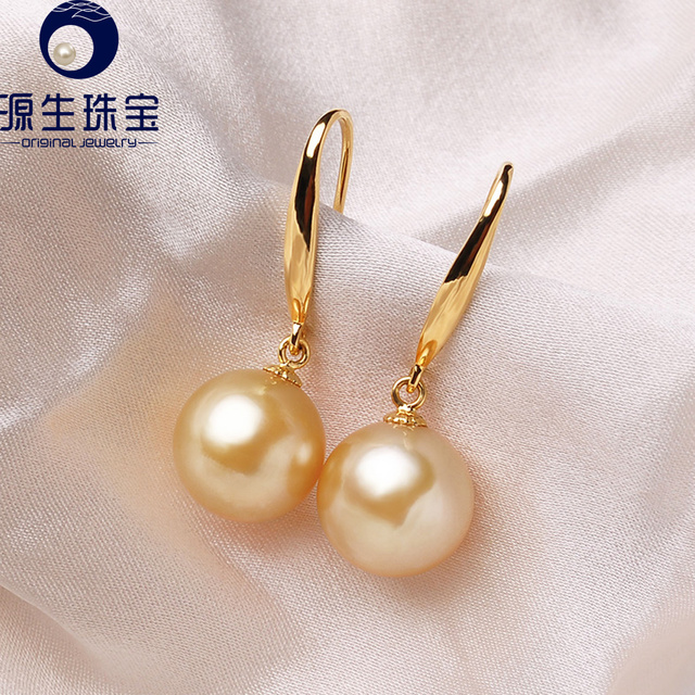 18k Gold Hook Earrings South Sea Pearl 9mm Simple Design Fine Jewelry For Women Ysesg001