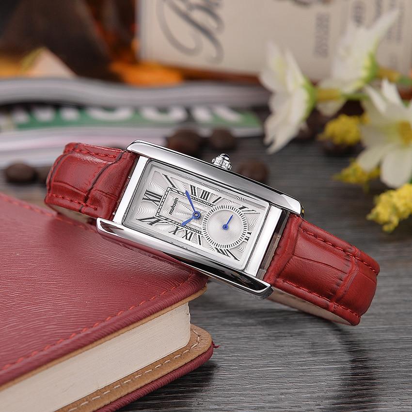 2018 mode d'affaires Décontractée distingué montre à quartz étanche montre rectangulaire de mode dames montre bracelet en cuir