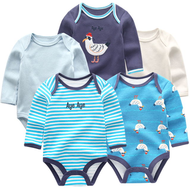 5pcs Long Sleeves Winter Baby bodysuits set