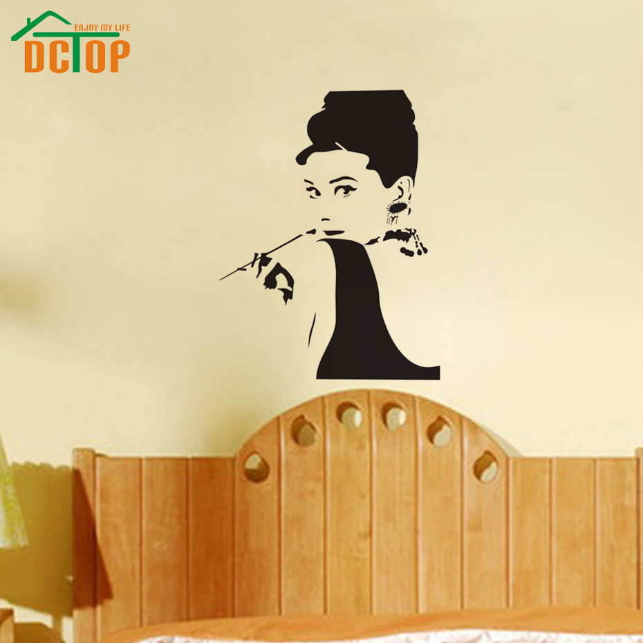Dctop classic audrey hepburn pipe sticker black high for Quality home decor