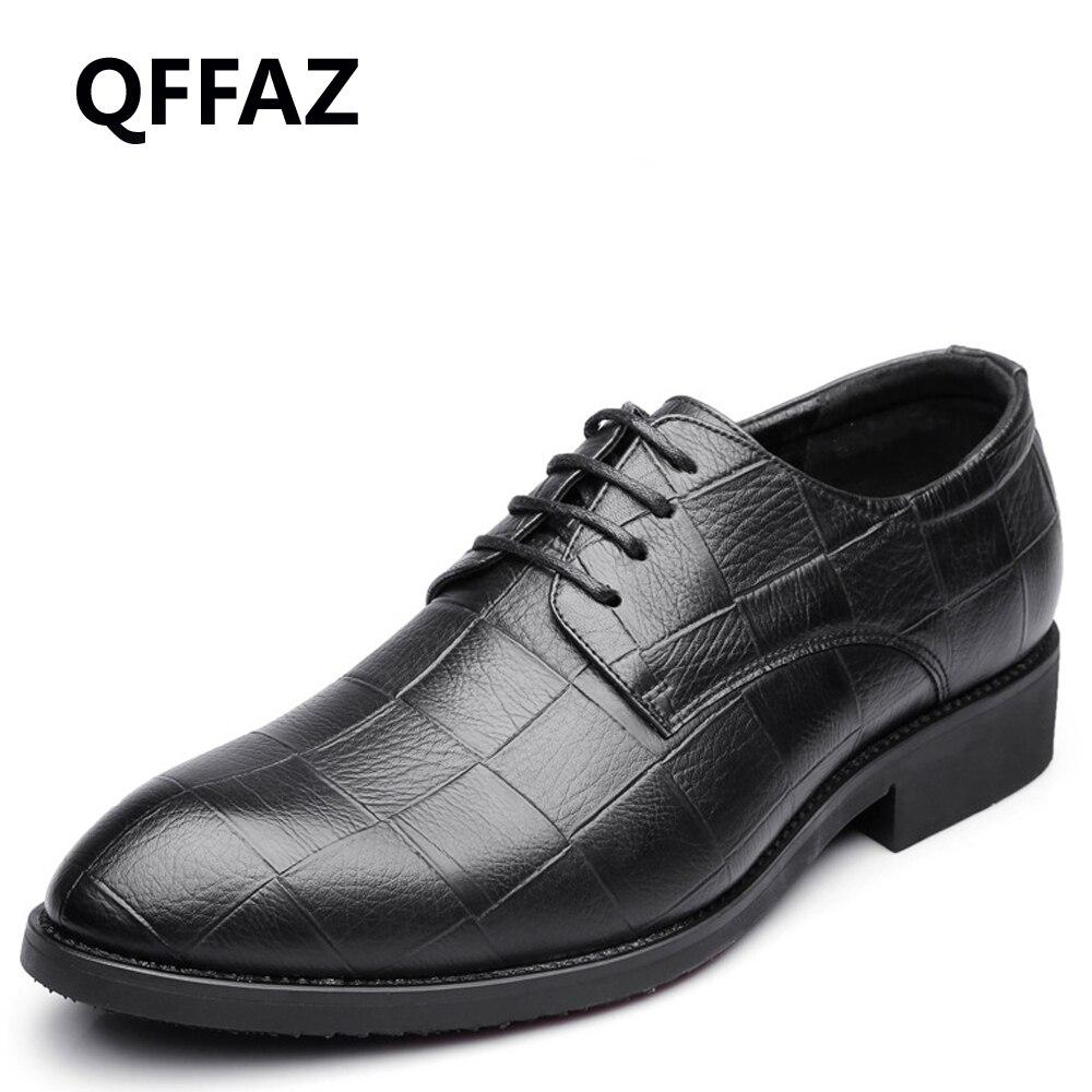 QFFAZ 2018 printemps nouveau rétro en cuir hommes robe chaussures hommes Oxford chaussures chaussures plates pour homme chaussures formelles respirant chaussures de mariage grande taille 45