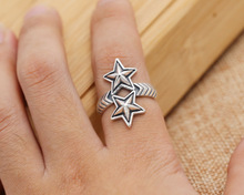 925 sterling silver jewelry personality asia cody five-pointed star hollow ring men's opening ring