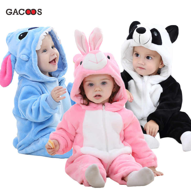 Cute Cartoon Flannel Baby Rompers Stitch Rabbit Panda Pajamas Cotton Baby Boy Girls Animal Costume Baby Jumpsuit Kugurumi Outfit