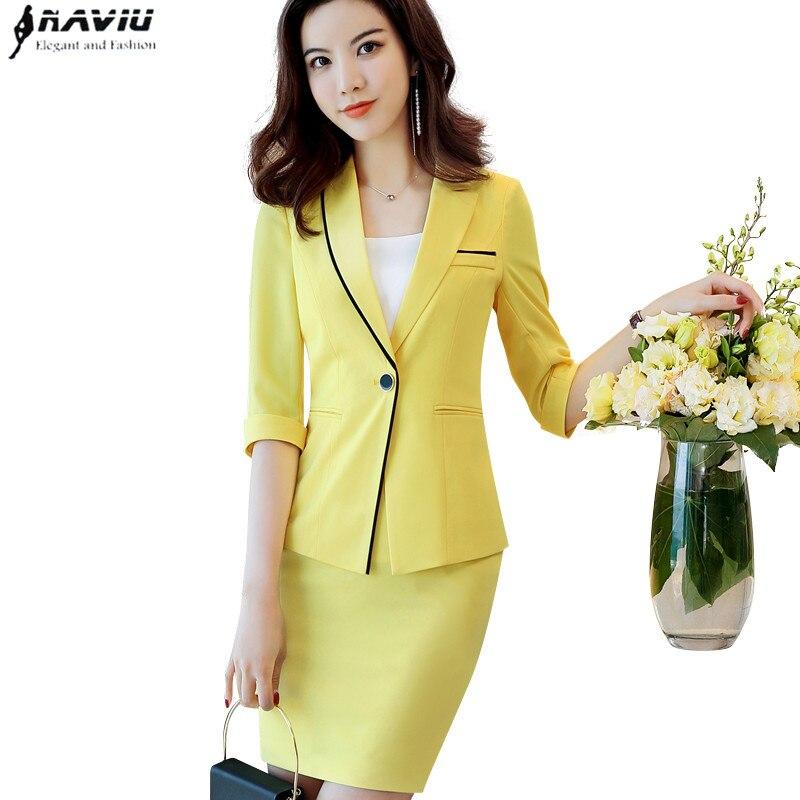 2019 New Summer fashion skirt suits women OL formal half sleeve slim blazer and skirt office