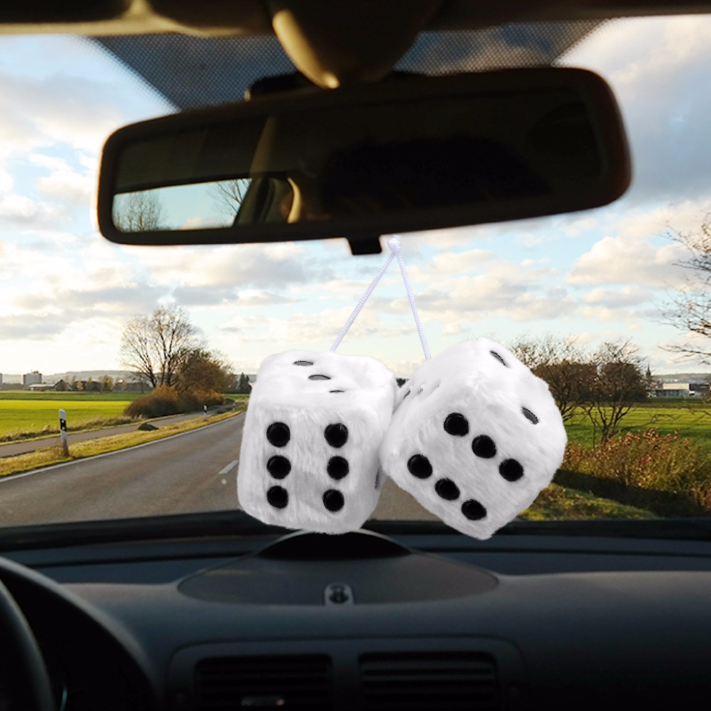 Hot Sale Car Ornament Fuzzy Dice Black Dots Rear View Mirror Hangers