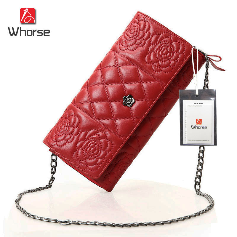 ФОТО [WHORSE] Brand Logo Quilted Chain Womens Messenger Bags Genuine Sheepskin Leather Women Small Shoulder Crossbody Bag Clutch