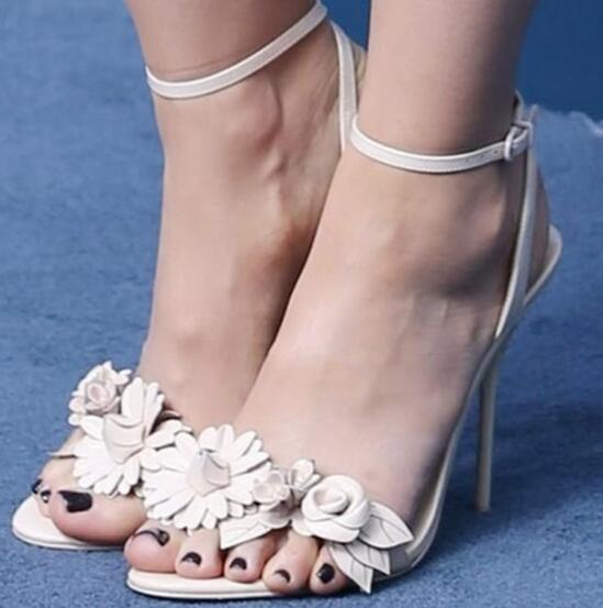 Hand-made flowers charming gorgeous high heel sandals white leather ankle wrap open toe stiletto heels dress sandal sexy heels managing projects made simple