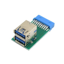 PC Case Internal Motherboard 19Pin Female to 2 Port Double Layer USB 3 0 A Female