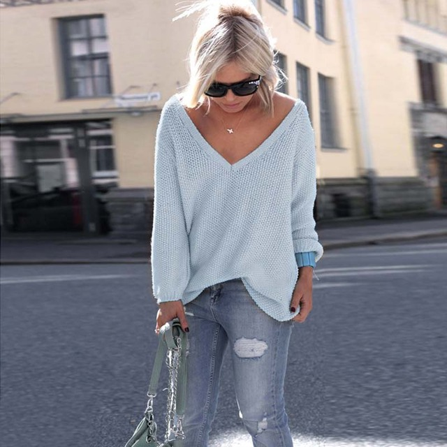 Sexy Knitted Long Sleeve V Neck Pullover Sweater 4