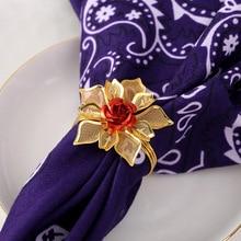 12PCS metal alloy napkin ring flower napkin ring wedding jewelry