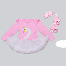 4pcs Swan Infant Complete Matching Clothing Suit For Birthday And Parties