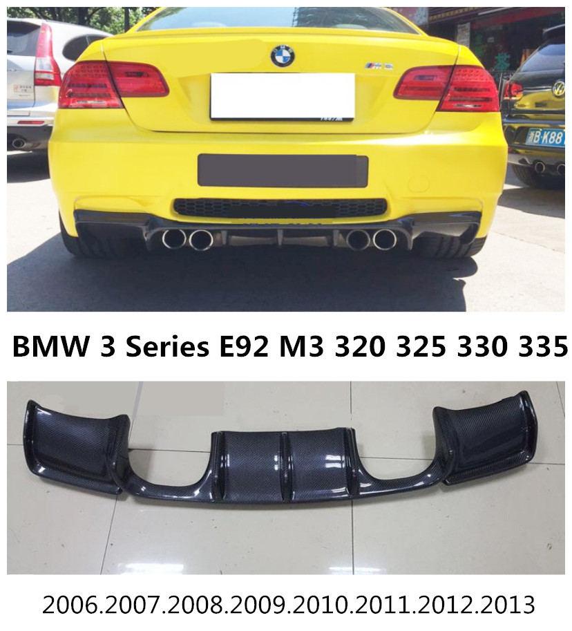 Carbon Fiber Rear Lip Spoiler For BMW 3 Series E92 M3 320 325 330 335 2006-2013 High Quality Bumper Diffuser Car Modification