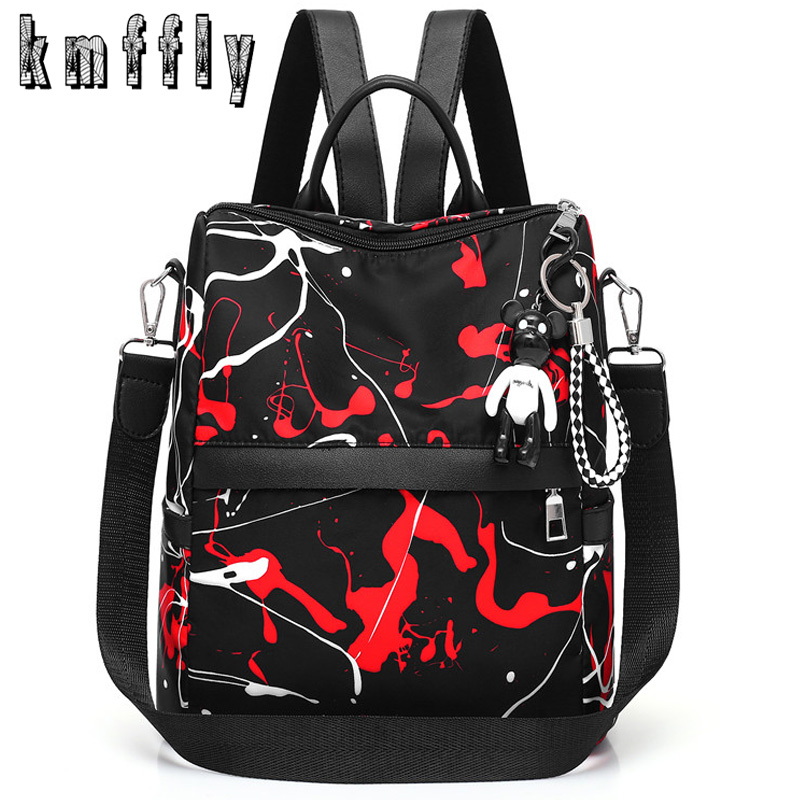 Fashion Anti-theft Oxford Female Backpack New Graffiti Backpacks For Women Black Travel Backpack School Bags For Teenage Girls